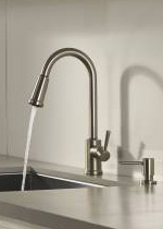 Indi spot resist stainless microban one-handle high arc pulldown kitchen faucet