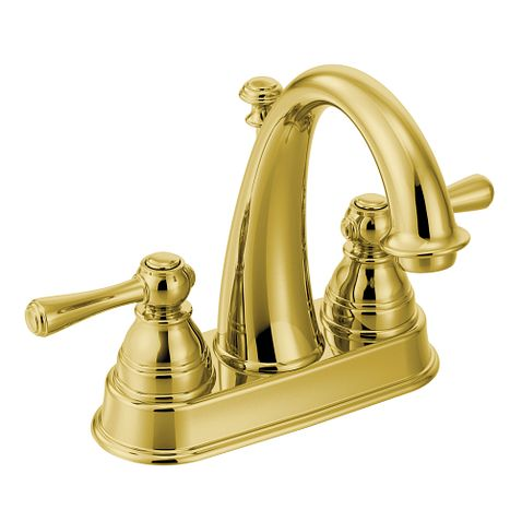 Kingsley polished brass two handle high arc bathroom faucet 6121p moen for Polished brass high arc bathroom faucet