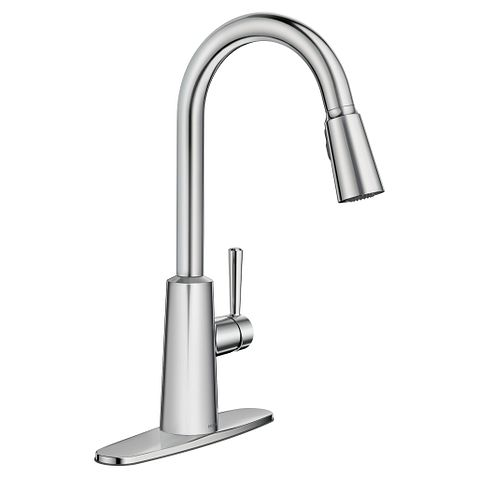 Riley Chrome High Arc Pulldown Kitchen Faucet 7402c Moen