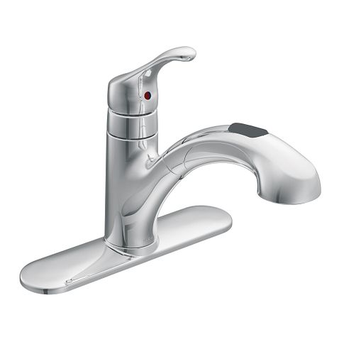 Renzo Chrome One Handle Low Arc Pullout Kitchen Faucet