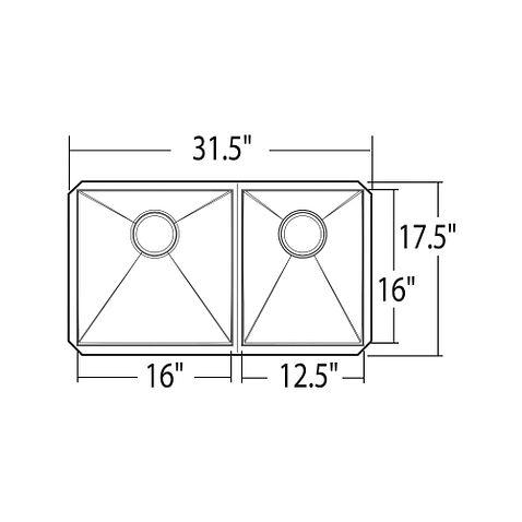 1800 Series 31 5 Quot X 17 5 Quot Stainless Steel 18 Gauge Double