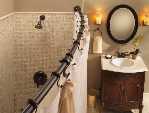 Moen Old World Bronze Curved Shower Rod Dn2160owb Moen