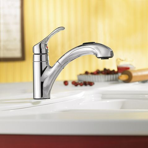 Renzo Chrome One Handle Low Arc Pullout Kitchen Faucet CA87316C Moen