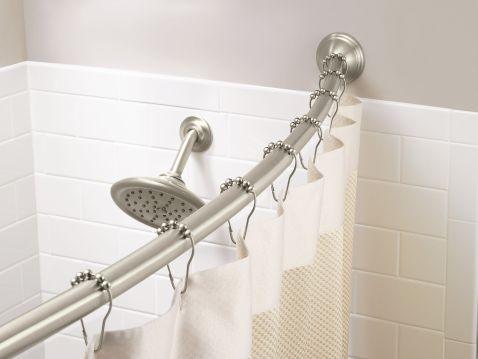 Moen Brushed Nickel Adjustable Curved Shower Rod