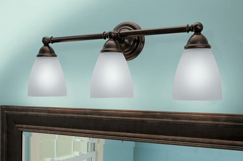 Brantford Oil Rubbed Bronze Three Globe Bath Light