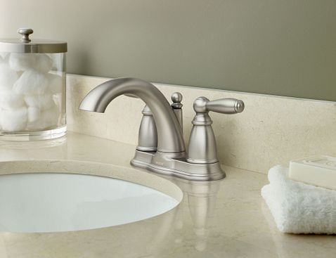 Brantford Brushed Nickel Two Handle High Arc Bathroom