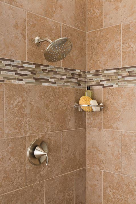 Wynford brushed nickel shower basket yb5275bn moen for Llaves para shower
