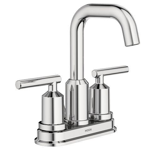 Gibson chrome two handle high arc bathroom faucet - Moen chrome bathroom sink faucets ...