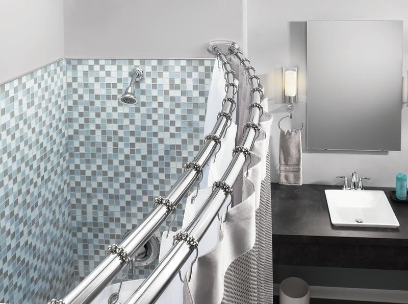moen brushed nickel adjustable curved shower rod model dn2140bn moen ...