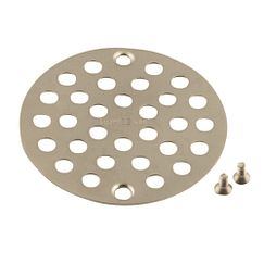 Brushed nickel tub/shower drain covers