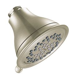 "Brushed nickel three-function 4"" diameter spray head eco-performance showerhead showerhead"