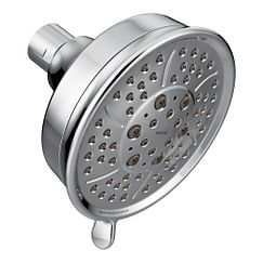 "Chrome four-function 4-3/8"" diameter spray head standard showerhead"