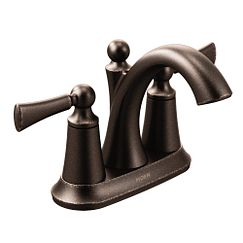 Oil rubbed bronze two-handle high arc bathroom faucet