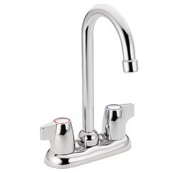 Chrome two-handle high arc bar faucet