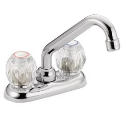 Chrome two-handle low arc laundry faucet