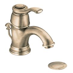 Antique bronze one-handle low arc bathroom faucet