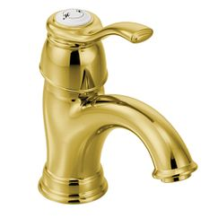 Polished brass one-handle low arc bathroom faucet