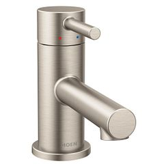 Brushed nickel one-handle low arc bathroom faucet