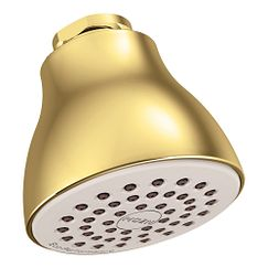 "Polished brass one-function 2-1/2"" diameter spray head eco-performance showerhead showerhead"
