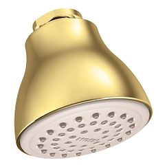 "Polished brass one-function 2-1/2"" diameter spray head easy clean xl showerhead"