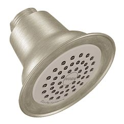 "Brushed nickel one-function 3-3/8"" diameter spray head eco-performance showerhead showerhead"