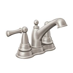Spot resist brushed nickel two-handle low arc bathroom faucet