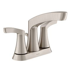 Spot resist brushed nickel two-handle high arc bathroom faucet