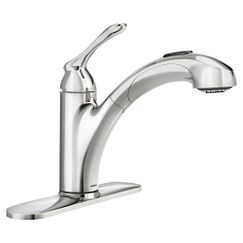 Chrome one-handle pullout kitchen faucet