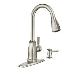 Spot resist stainless Microban one-handle high arc pulldown kitchen faucet