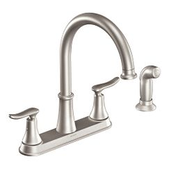 Spot resist stainless two-handle high arc kitchen faucet