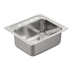 "25""x22"" stainless steel 18 gauge single bowl drop in sink"