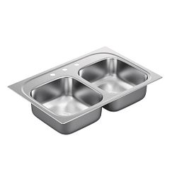 "33""x22"" stainless steel 18 gauge double bowl drop in sink"