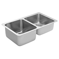 "31.25""x18"" stainless steel 18 gauge double bowl sink"