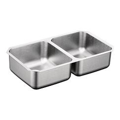 "31.25""x18"" stainless steel 20 gauge double bowl sink"