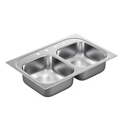 "33""x22"" stainless steel 20 gauge double bowl drop in sink"