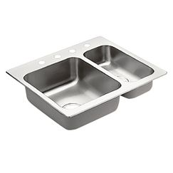 "25""x22"" stainless steel 20 gauge double bowl drop in sink"