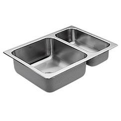 "25.5""x18.75"" stainless steel 20 gauge double bowl drop in sink"