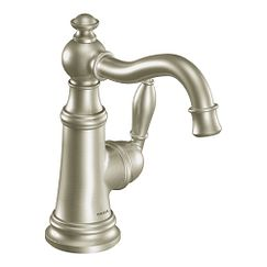 Brushed nickel one-handle high arc bathroom faucet