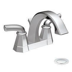 Chrome two-handle high arc bathroom faucet