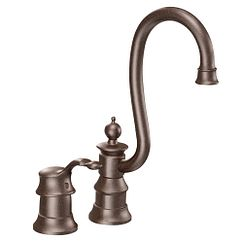 Oil rubbed bronze one-handle high arc bar faucet