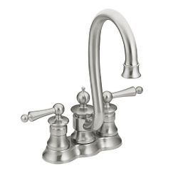 Classic stainless two-handle high arc bar faucet