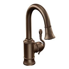 Oil rubbed bronze one-handle high arc pulldown bar faucet