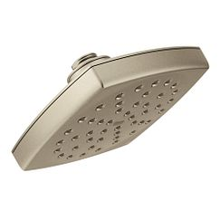 "Brushed nickel one-function 6"" diameter spray head rainshower showerhead"