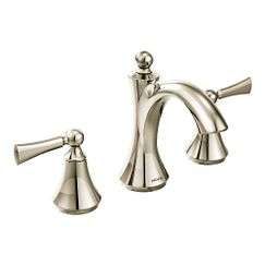 Polished nickel two-handle high arc bathroom faucet