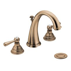 Antique bronze two-handle high arc bathroom faucet