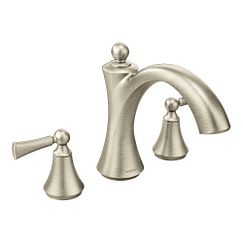 Brushed nickel two-handle non diverter roman tub faucet