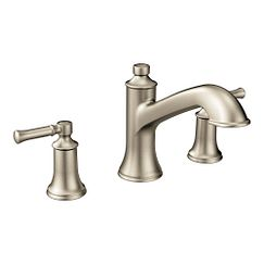Brushed nickel two-handle high arc roman tub faucet