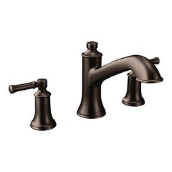 Oil rubbed bronze two-handle high arc roman tub faucet