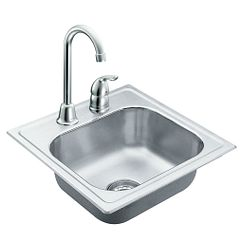"15""x15"" stainless steel 20 gauge single bowl drop in sink"