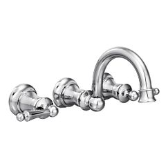 Chrome two-handle wall mount bathroom faucet